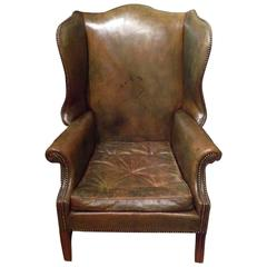 1900s Leather Wingchair