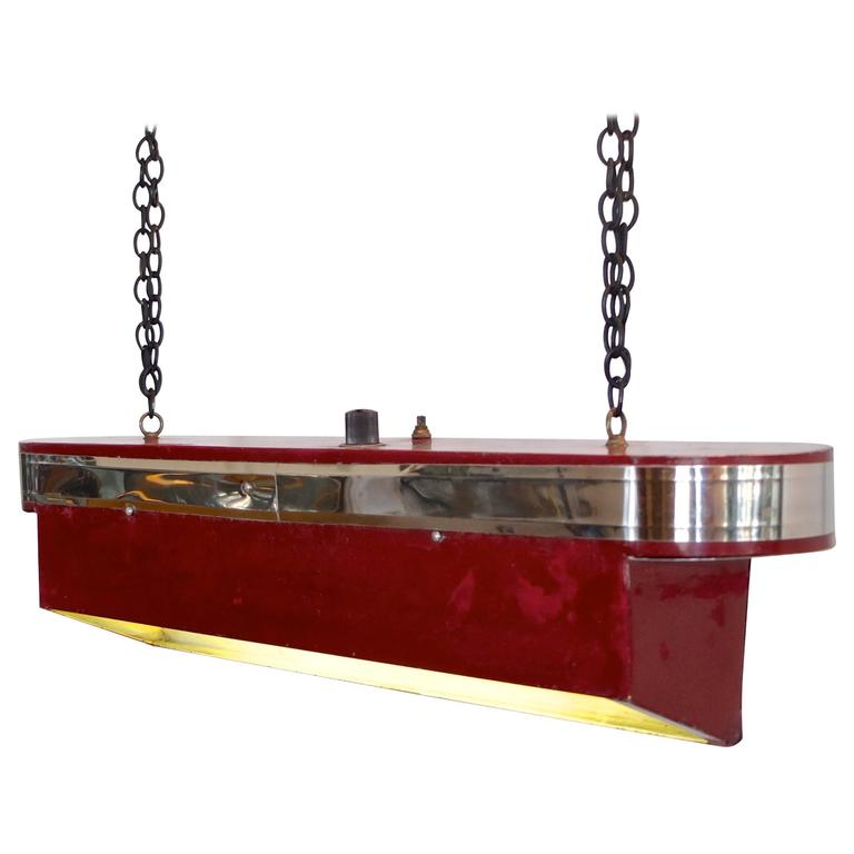 Streamline Art Deco Horizontal Hanging Light For Sale
