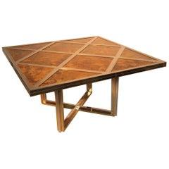 Romeo Rega Square Table Brass Steel Signed 1970s Italian Design Minimalist