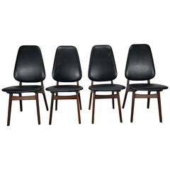 Set of Four Kofoed Larsen High Back Dining Chairs, Denmark