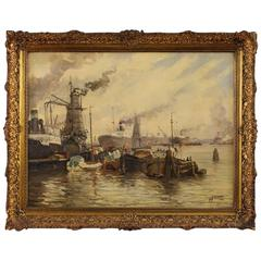 "20th Century, Dutch Painting ""Port View"""