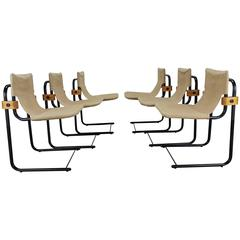 Unusual Set of Six Cantilever Canvas, Steel and Wood Dining Chairs, Italy