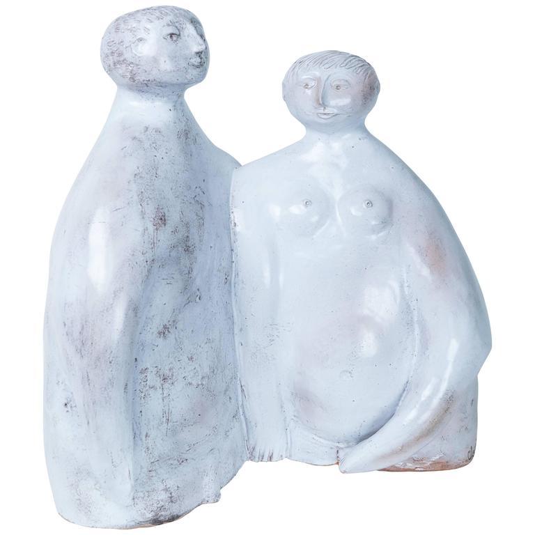 """Robert & Jean Cloutier White Sculpture """"Couple"""", circa 1990, France"""