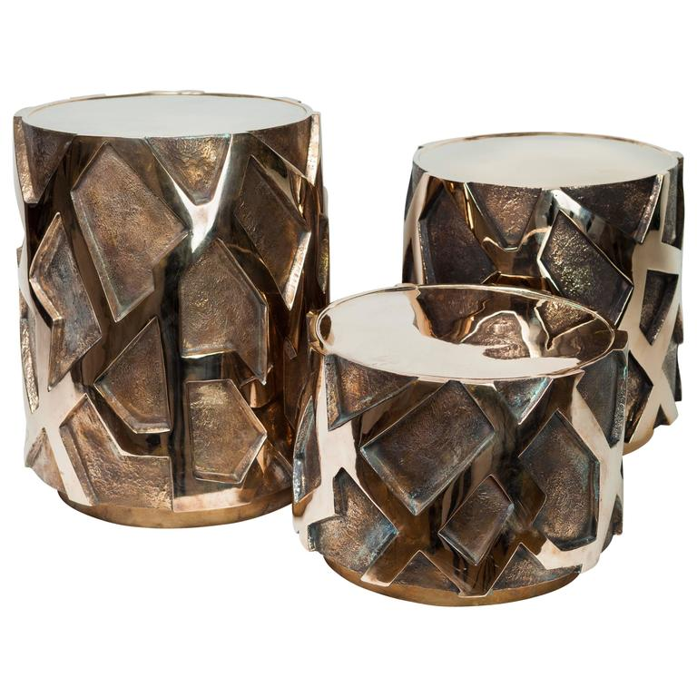Jacques Darbaud Set of Three Bronze Side Tables, 2015, France For Sale