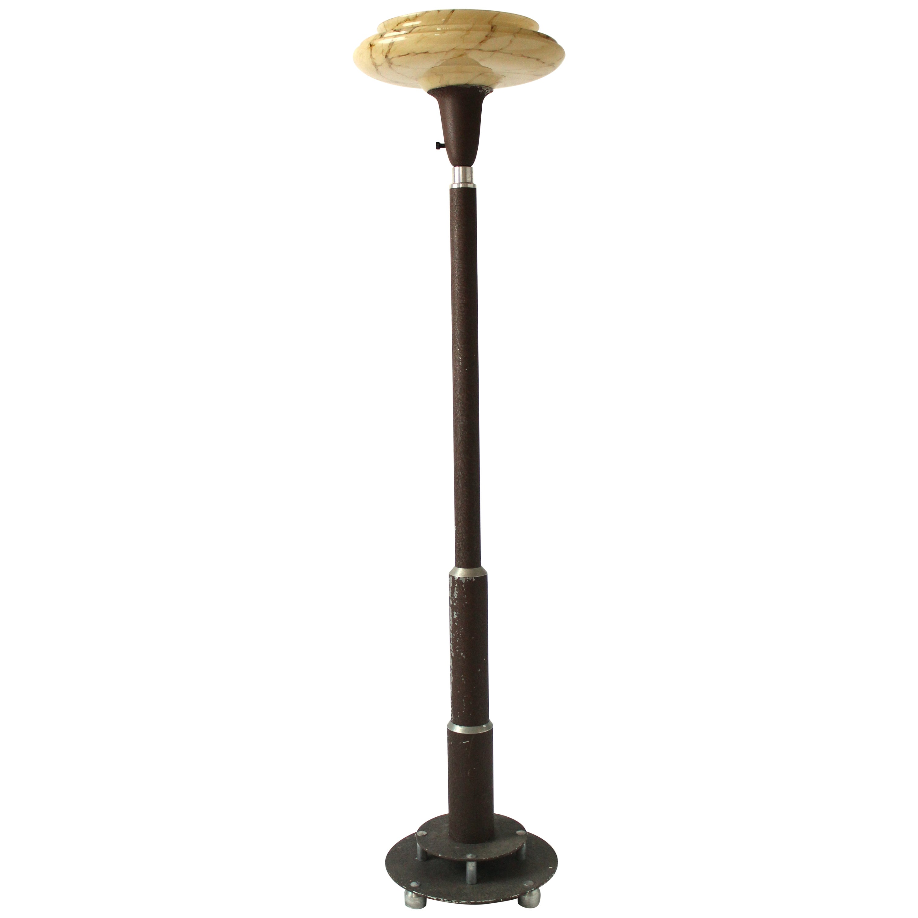 Machine Age Aluminium Floor Lamp, 1930s, USA