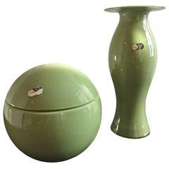 Carlo Nason for Mazzega 1970 Centerpiece Box and Vase