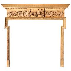 Large Early 19th Century Carved Pine Fire Surround