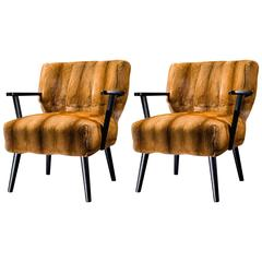 "Pair of Armchairs ""Alpina"" Golden Mink Upholstery"