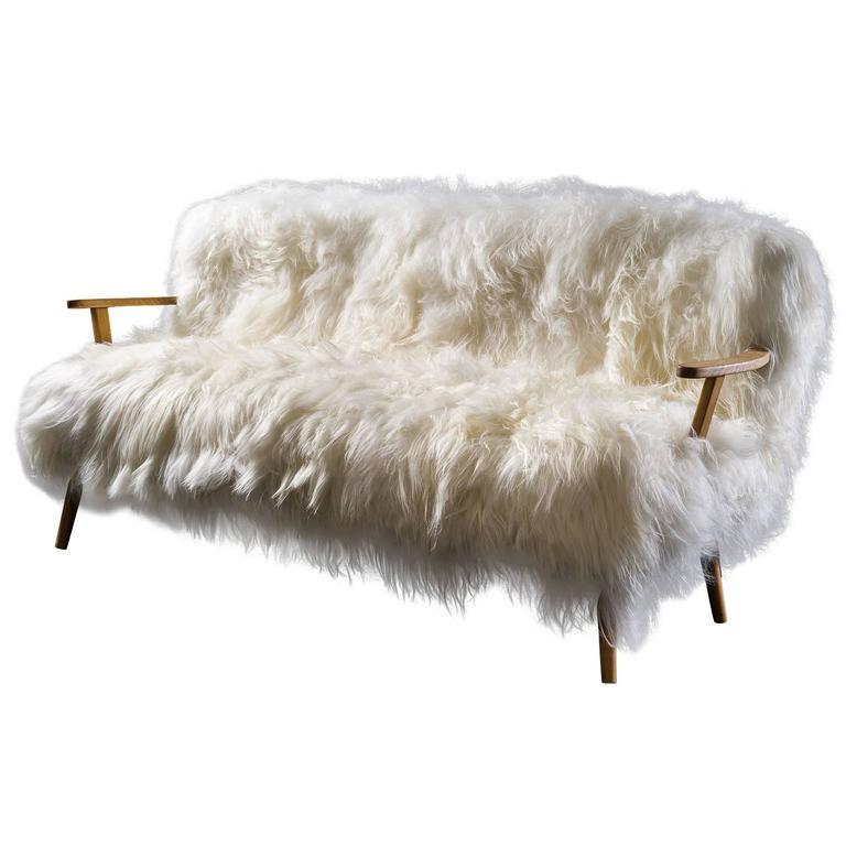 Fur Sofa European Style White Black Grey Orange Solid Faux