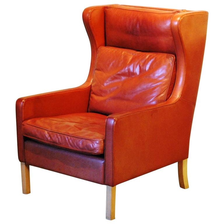 Mid Century Modern Leather Wingback Chair Circa 1960 At