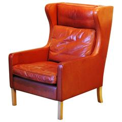 Mid-Century Modern Leather Wingback Chair, circa 1960
