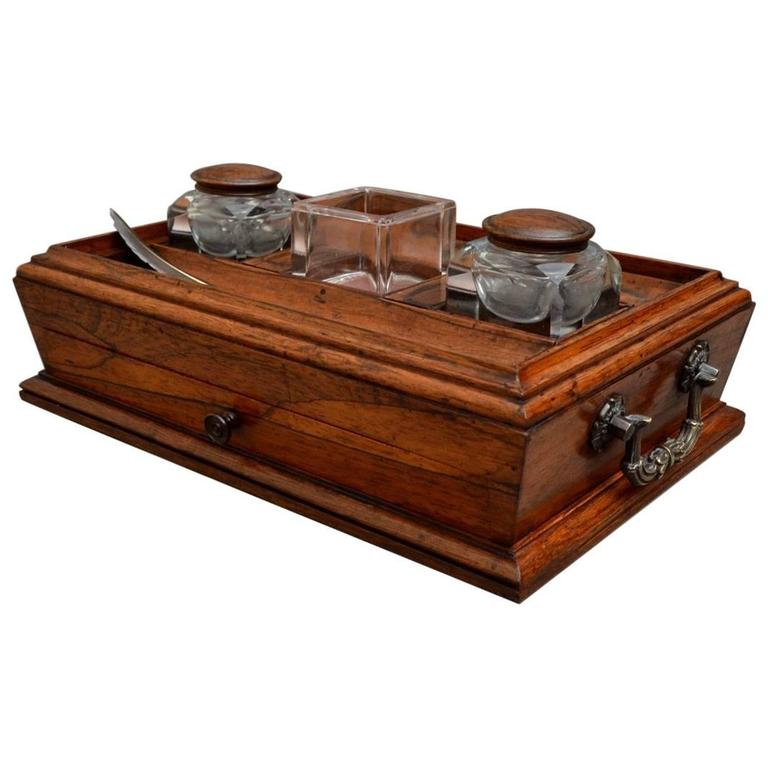 Exceptional Regency Rosewood Ink Stand, Desk Stand