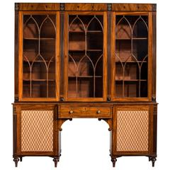 Regency Period Mahogany Secretaire Library Bookcase