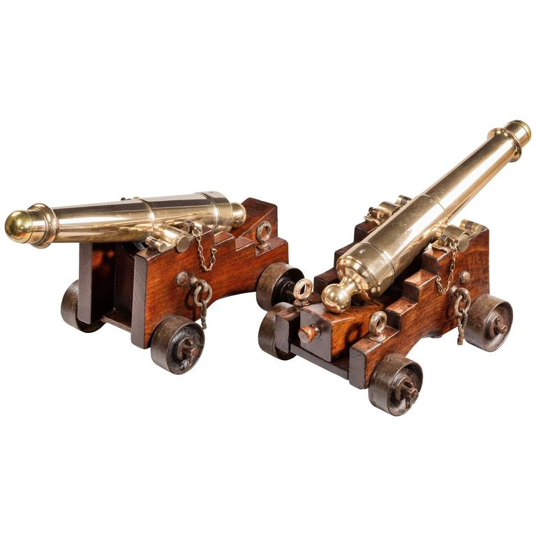 Pair of Bronze Deck Cannon