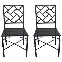 Pair of Metal Chinese Chippendale Dining Side Chairs