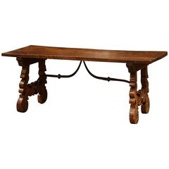 19th Century, Spanish Carved Walnut Coffee Table with Wrought Iron Stretcher