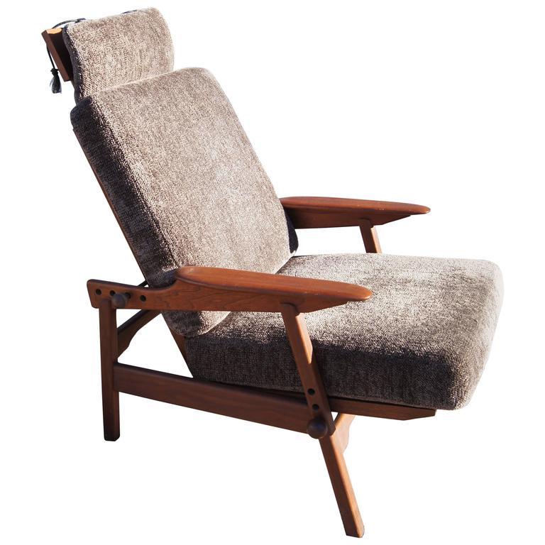 Danish Adjustable Teak High-Back Lounge Chair