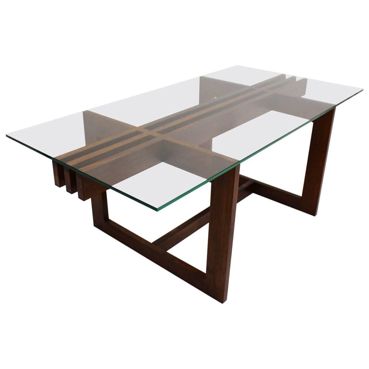 Scandinavian Modern Vintage Teak Glass Coffee Table Denmark, 1960s