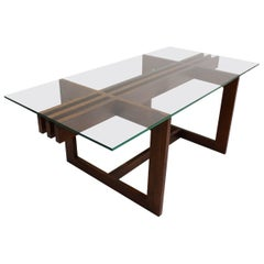 Mid Century Modern Vintage Rosewood Glass Coffee Table Denmark, 1960s