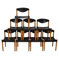 Set of Eight Stacking Chairs Strax by Hartmut Lohmeyer, 1970s, Germany
