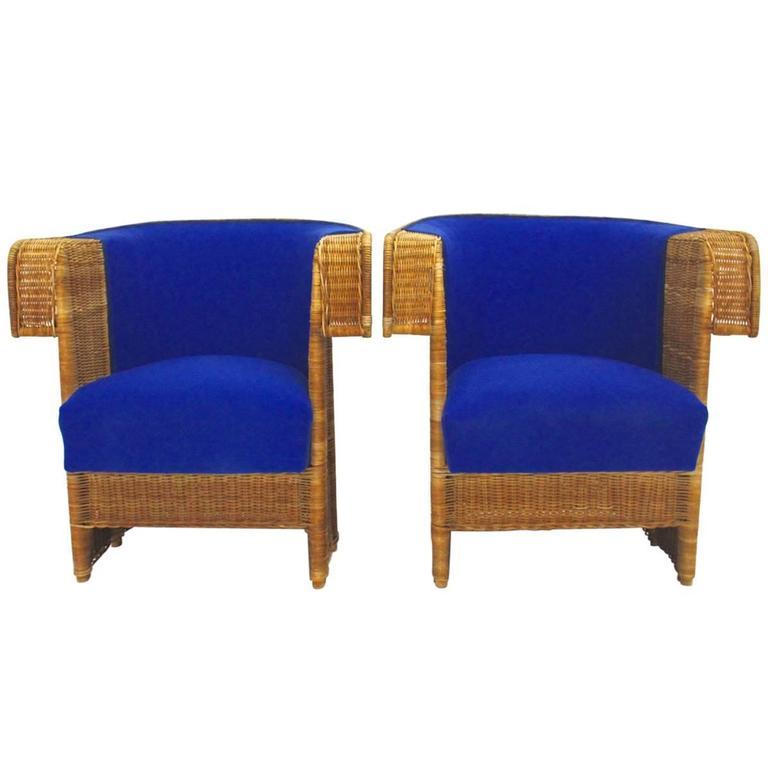 Pair of Wicker Chairs by Hans Vollmer, 1902-1903, Vienna 1