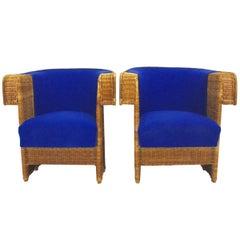 Jugendstil Vintage Armchairs by Hans Vollmer 1902 Vienna Blue Fabric Wicker