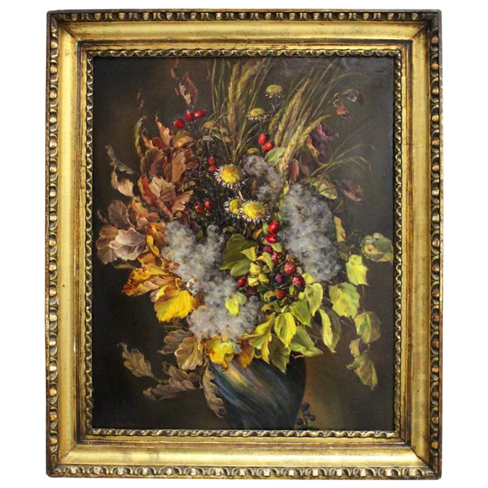 Painting Autumn Leaves Bouquet by Emil Fiala, Vienna, 1930s