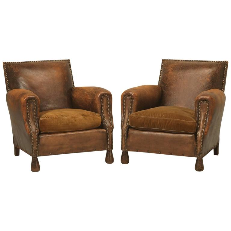 French Pair Of Art Deco Leather Club Chairs In Original