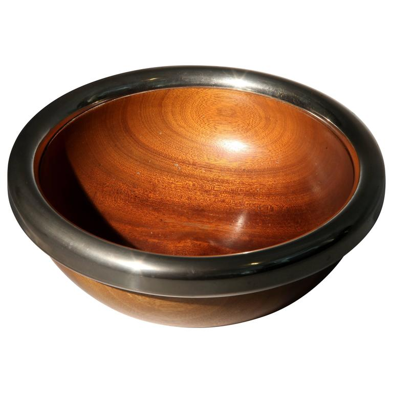 Wooden Bowl With Metal Trim At 1stdibs