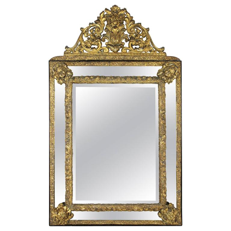 Large 19th Century French Napoleon III Brass Repousse Glass Mirror