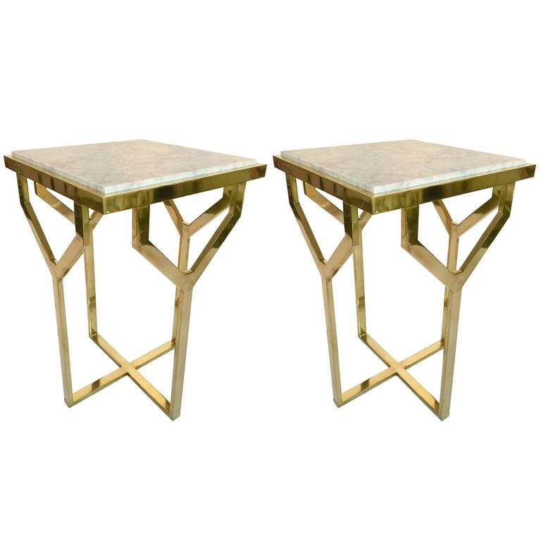 Contemporary Pair of Side Table Y Brass and Marble, Italy