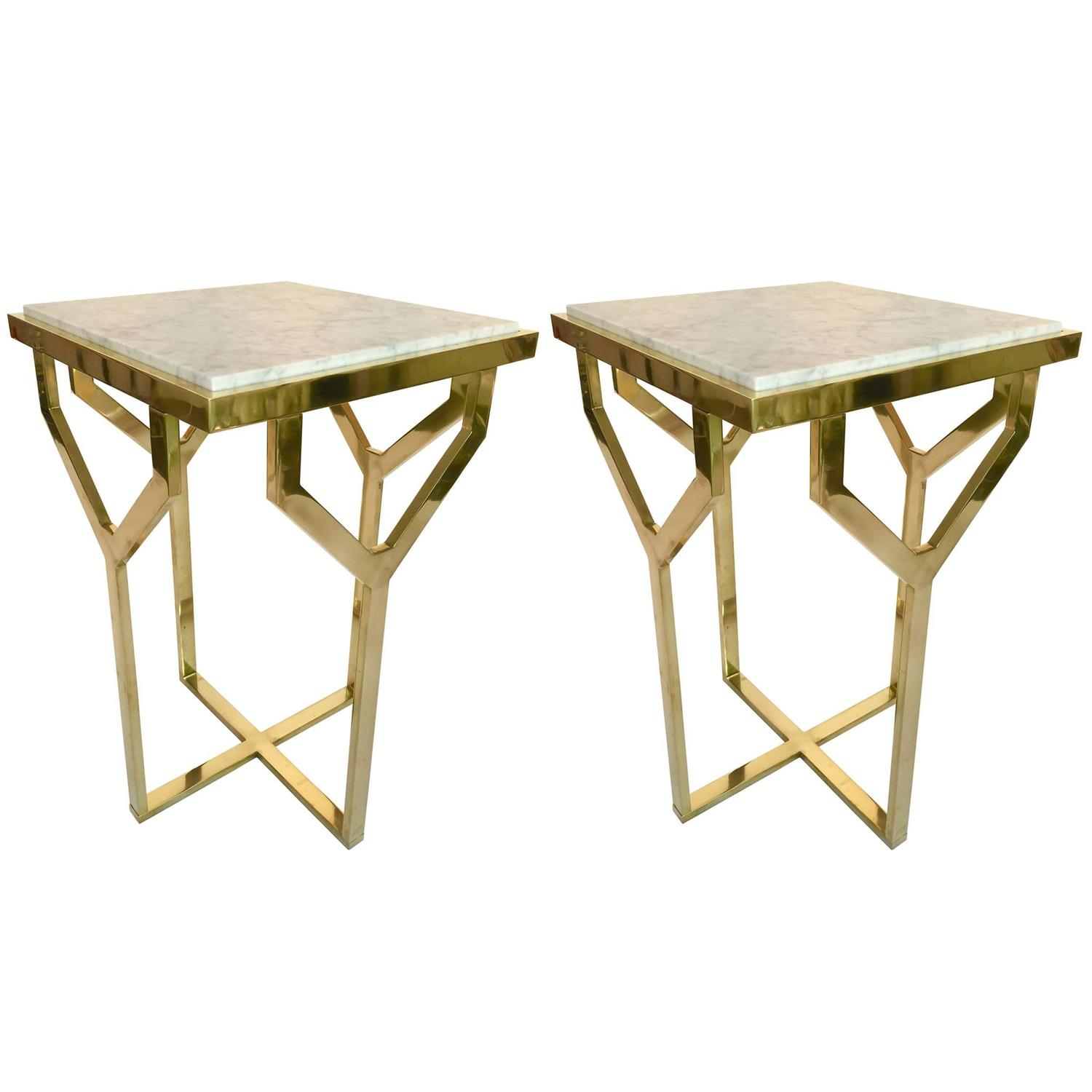 Pair of Side Table Y Brass and Marble Contemporary Italy 2016