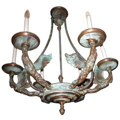 French Empire Patinated Bronze Figural Chandelier
