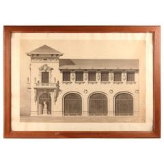 French Black and White Architectural Drawing