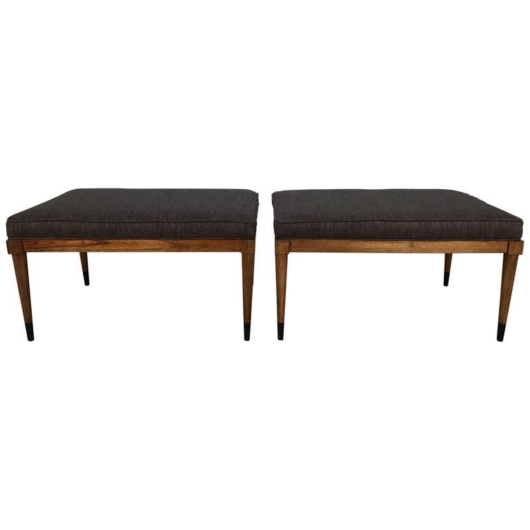 Pair of T.H. Robsjohn-Gibbings Walnut Benches 1