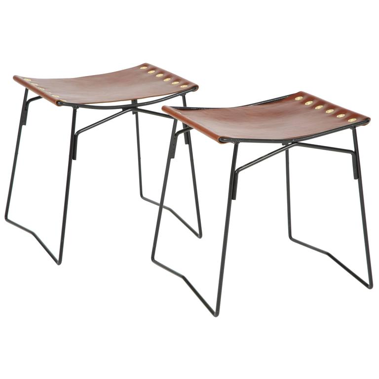 Pair of Leather Stools with Riveted Slings 1