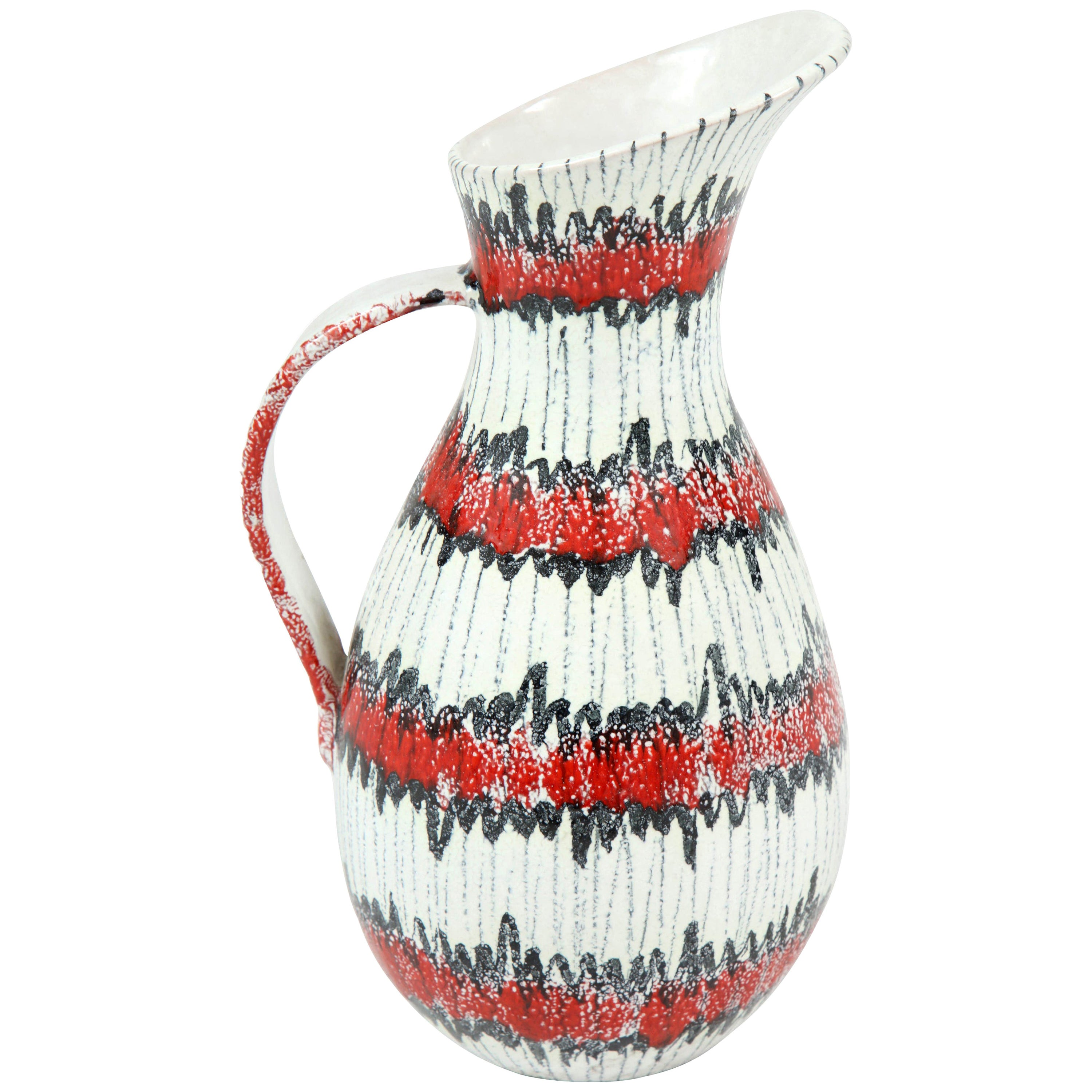 Ceramic Pitcher, Italy, Midcentury, Red, White and Black, circa 1950, Vintage