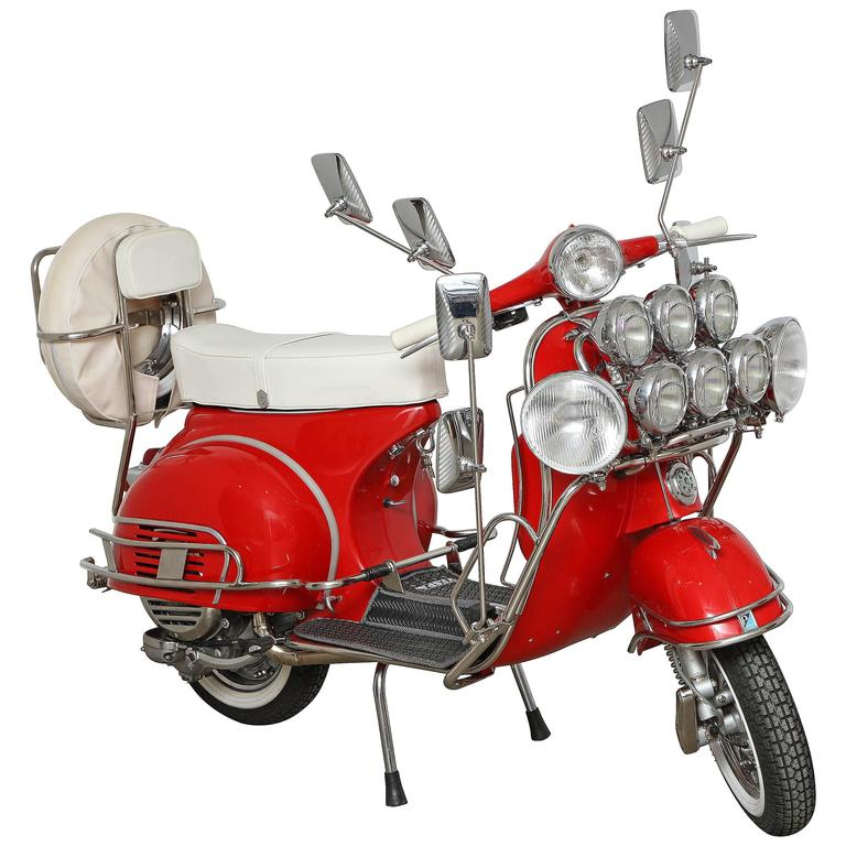 "Fully Restored 1963 Red with White Leather Italian, Piaggio ""Mod"" Vespa 1"