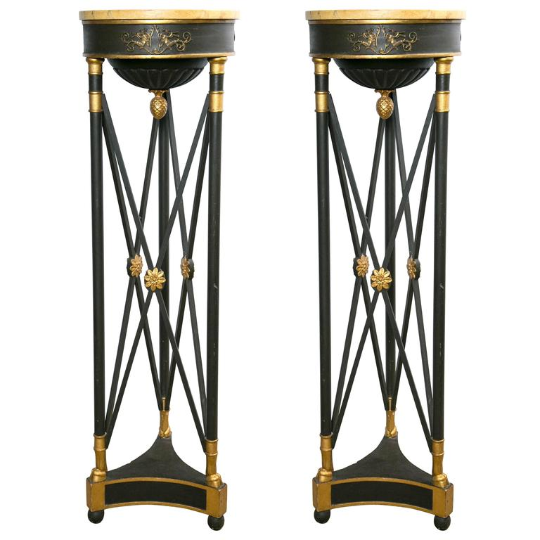 Painted and Gilded Wood Empire Style Torchiers For Sale