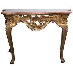 Italian Giltwood Marble Top Early 19th Century. Console Table