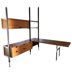 George Nelson Two Bay CSS Shelving Unit with Desk. Herman Miller