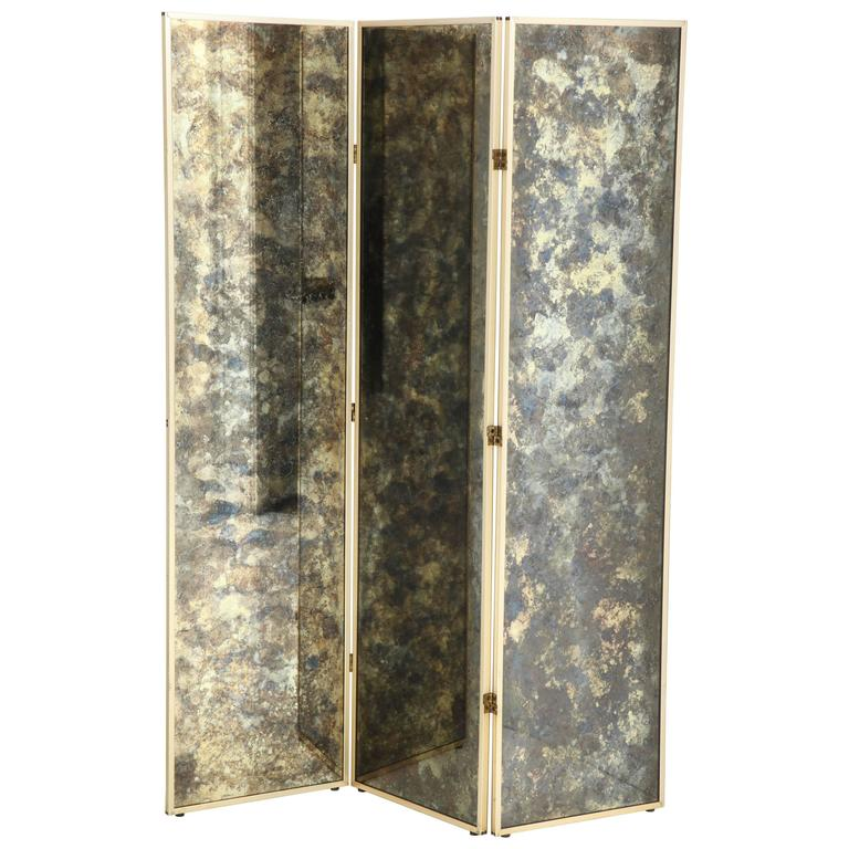 Brass and Smoked Glass Four Panel Folding Floor Screen DIA For Sale ...