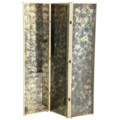 Fabulous 1940s Three-Panel Antiqued Mirror Folding Screen after Frances Elkins