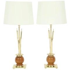 Pair of Cat Tail Lamps