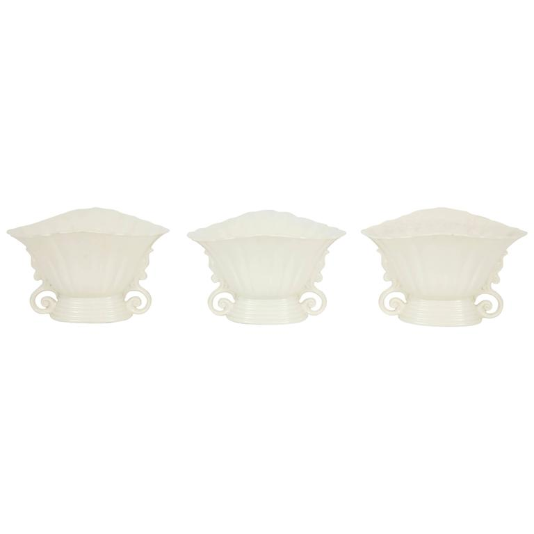 Trio of White Wade Vases For Sale