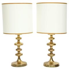 Pair of Brass Swedish Lamps