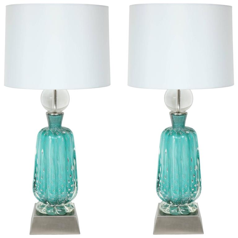 Barovier Turquoise Murano Glass Lamps For Sale