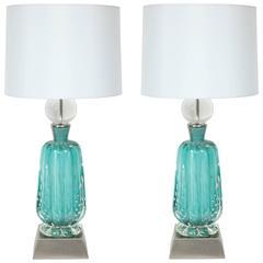Barovier Turquoise Murano Glass Lamps