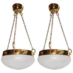 Pair of Light Fixtures with Frosted Glass, Sold Individually