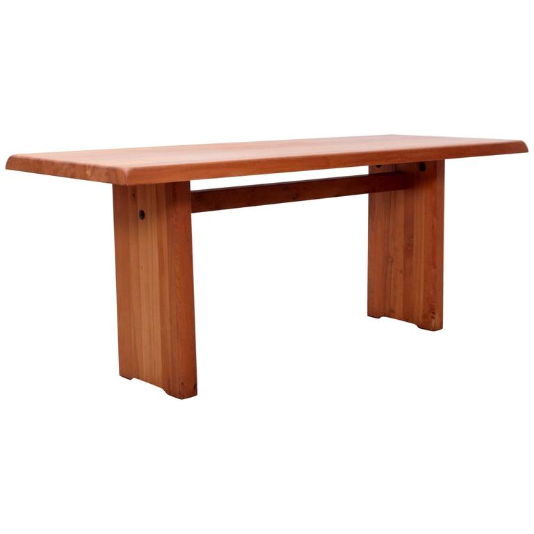 Large Pierre Chapo T19 Dining Table in Solid Elm
